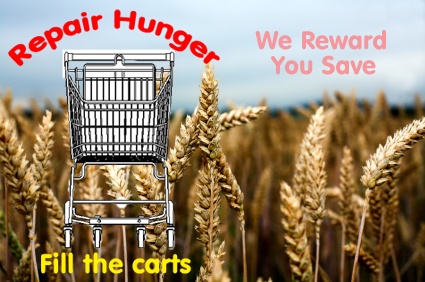 Emtpy Shopping cart in a field of wheat.